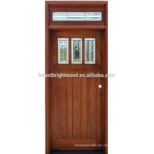 Diseño de puerta de madera vidrio sola entrada frontal