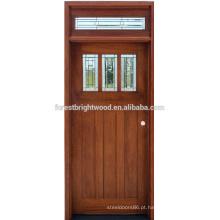 Projeto de porta de vidro madeira sólida única entrada frontal