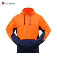 Hi Vis Hoodie Jumper with Kangaroo Pockets Safety Workwear Jacket Two Tone Contrast Class 3