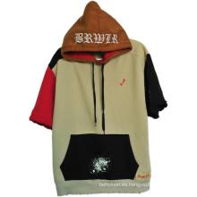 Sudadera con capucha personalizada de las camisas del estilo del ocio de la calle de la manera con las mangas cortas (H0002 / 03/04/05/06)