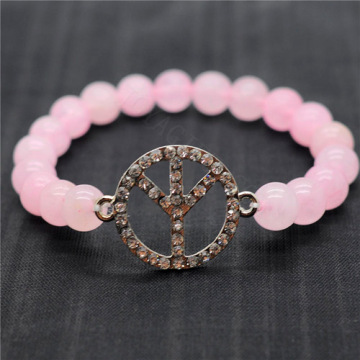 Rose Quartz 8MM Round Beads Stretch Gemstone Bracelet with Diamante Peace logo Piece