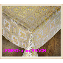 PVC 137cm Vinyl Lace Gold Table Cloth in Roll China Factory