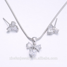 new arrivals 2018 bowknot heart shape jewelry set lovely design