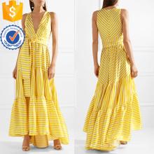 Gedruckt Tiered V-Ausschnitt Sleeveless Striped Maxi Sommerkleid Herstellung Großhandel Mode Frauen Bekleidung (TA0281D)