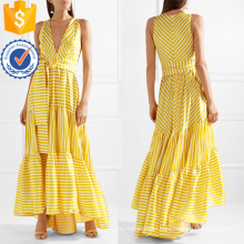 Printed Tiered V-Neck Sleeveless Striped Maxi Summer Dress Manufacture Wholesale Fashion Women Apparel (TA0281D)
