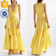 Напечатано Ярусный V-образным вырезом без рукавов в полоску Макси летнее платье Производство Оптовая продажа женской одежды (TA0281D)