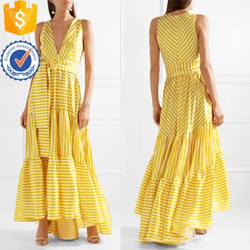 Impresso em camadas de gola V mangas listradas Maxi vestido de verão manufatura atacado moda feminina vestuário (TA0281D)
