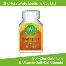 Hierro Natural + Zinc + Selenio y Vitamina Cápsula de Soft-Gel