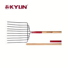 Outil en bois de haute qualité de poignée de fourche de jardin en métal creusant la fourchette de foin