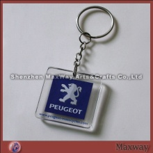 Decent clear polished square promotional acrylic/lucite key chain/ring/holder with your picture or a