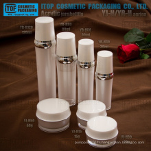 Hot-vente gros doubles couches attrayant et classique de luxe ronde ensembles des contenants de cosmétiques acrylique et bouteilles