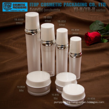 Hot-selling attractive and classical luxury wholesale double layers round acrylic cosmetic containers sets and bottles
