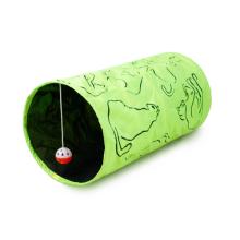 Lit vert de maison de jeu d'animal familier de Terylene avec le jouet accrochant 3 boules pour le tunnel de chat