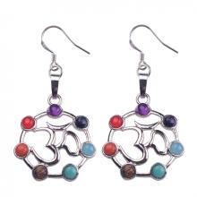 Vogue Women Stainless Steel Chakra Stone Long Drop Earrings
