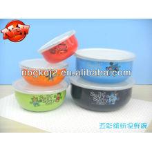 conjunto de 5 taças de esmalte com tampa PP