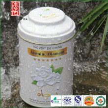 chá de jasmim de qualidade extra embalado com caixa de metal