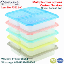 Wholesale 3 Compartment Plastic Food Packaging Containers Meal Prep, FDA Reusable Leakproof Lunch Box