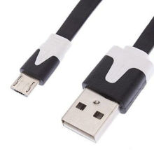 Long Black Cell Phone Data Cables Flat Noodle Micro Usb For Charger Samsung / Htc / Blackberry