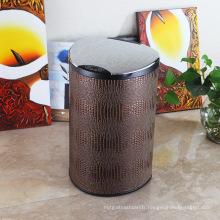 Poubelle de capteur de capteur aromatique couvert en cuir (E-12LC)