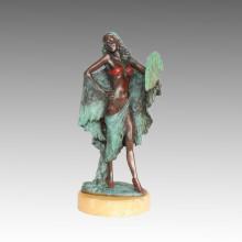 Weibliche Wohnkultur Bronze Skulptur Maiden Indoor Messing Statue TPE-557