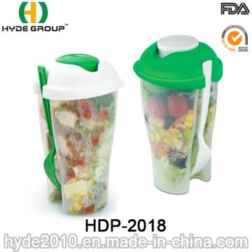Ensalada libre de BPA para servir la taza con tenedor (HDP-2018)