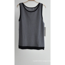 Ladies Pure Colour Striped Sleeveless Sweater