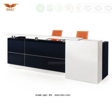 Modern Fashionable Black and White Office Reception Desk (HY-Q09)