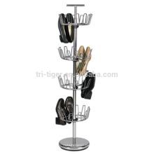 venda al por mayor el estante rotatorio del zapato del alambre de metal de 4 gradas, estante del zapato del árbol