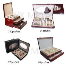 72, 84, 130 PCS Travelling Portable Wooden Box Set de talheres de aço inoxidável