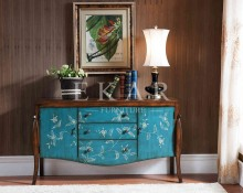 Hand Paint Solid Wood Furniture Paint Vintage Cabinet In Blue
