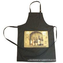 Promocional por encargo 2 bolsillos de vino negro de cocina impresa de algodón cocina de hornear babero delantal