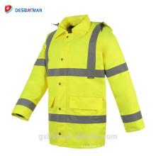 Manteau matelassé de veste de Parka de sécurité réfléchie d'hiver de haute visibilité matelassé avec le capot réglable