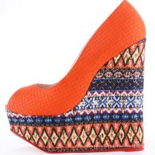 пальца ноги щели женщин оранжевый 15 см супер высокий каблук клинья