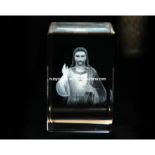 3D Jesus Engraving in Crystal Cube for Christian Souvenir Gift