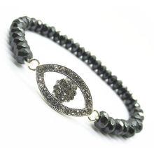 6MM facettierte abacus Hämatit Perlen Stretch Armband mit Diamante Alloy Auge