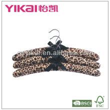 Leopard print fuzz fabric padded shirt hangers