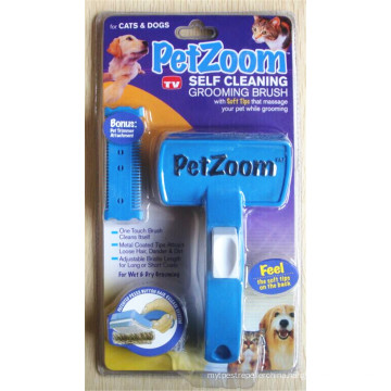 Petzoom Self Cleaning Grooming Brush with Bonus Pet Trimmer
