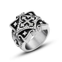 Рок-н-ролл Бог крест кольцо из нержавеющей стали матовый черный