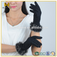 Ladies dress fashion winter gloves wholesale cheap wool gloves