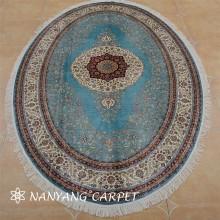 6'x9' Oval  Tabriz Persian Silk Rug Handmade