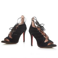 зашнуровать кожаные весенние женские туфли на высоких каблуках