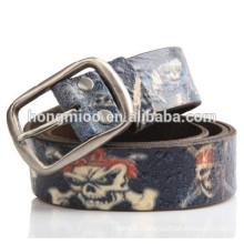 Skeleton drawing printing genuine leather belt Skull pattern embossing belt Vintage rock belt street culture