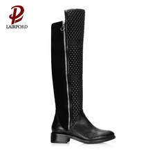 3cm low heel comfortable long zipper boots