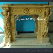 Lady Statue Surface Carved Marble Fireplace (SY-MF011)