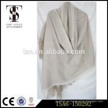 Largo de lana blanca poncho de espiga poncho 100 por ciento de capas de chal de acrílico