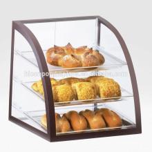 Personalisierte Aluminium-Rahmen 3-Tier Staubdicht Acryl Regal Clean Display-Gehäuse Pizza Counter Display