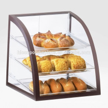 Personalized Aluminum Frame 3-Tier Dustproof Acrylic Shelving Clean Display Case Pizza Counter Display