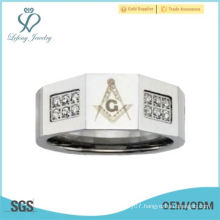 Stainless Steel Men's Masonic 0.36 Carat CZ Inlaid Ring