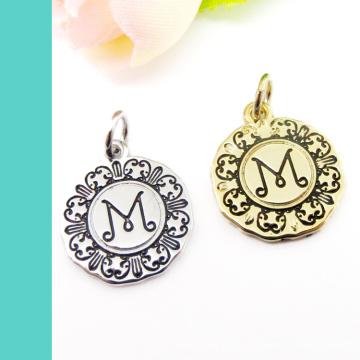 Custom Zinc Alloy Logo Engraved Jewelry Metal Tag Charm