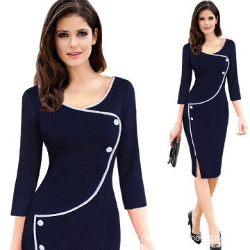 Women Casual Elegant Deep Neck Knee Pencil Women Office Bodycon Dress